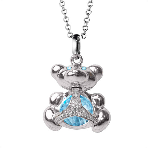 Icona Charm Bear Necklace with blue topaz in sterling silver plated with rhodium with diamonds