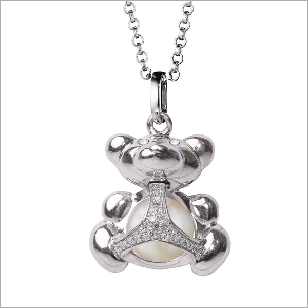 Icona Bear Charm Necklace in Sterling Silver with Pearl & Diamonds