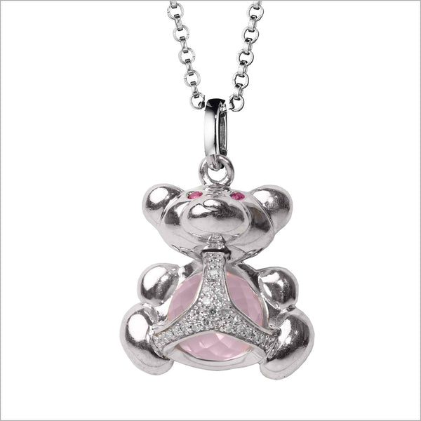 Icona Bear Charm Necklace in Sterling Silver with Rose Quartz & Diamonds