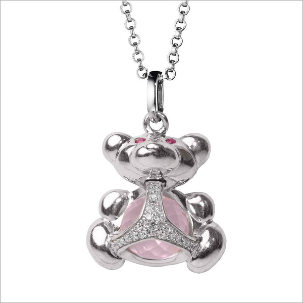 Icona Charm Bear Necklace with rose quartz in sterling silver plated with rhodium