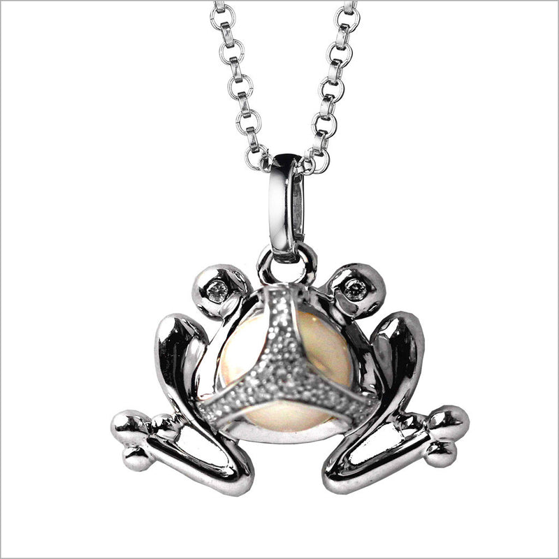 Icona Charm Frog Necklace in sterling silver plated with rhodium with pearl and diamonds
