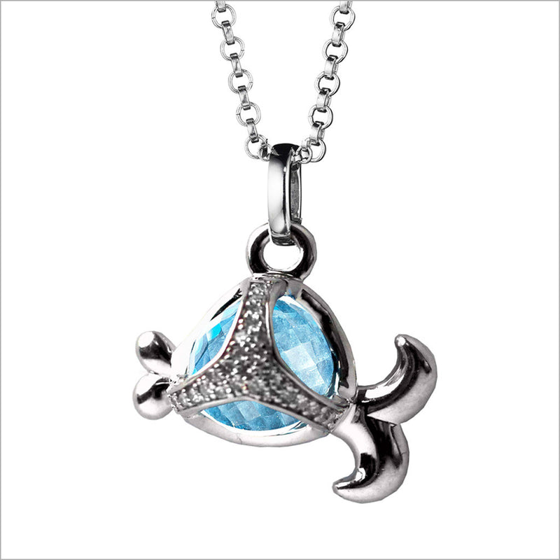 Icona Charm Fish Necklace in sterling silver plated with rhodium with blue topaz and diamonds