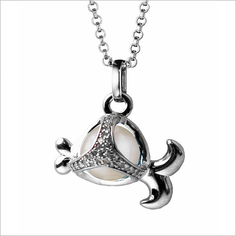 Icona Charm Fish Necklace in sterling silver plated with rhodium with pearl and diamonds