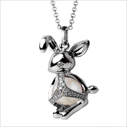 Icona Charm Bunny Necklace in sterling silver plated with rhodium with pearl and diamonds