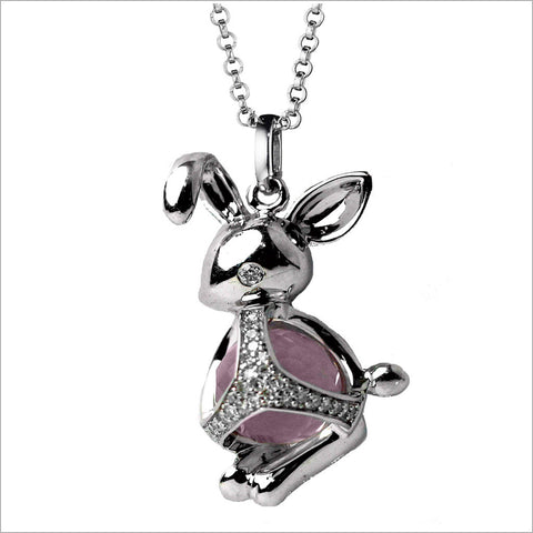 Icona Charm Bunny Necklace in sterling silver plated with rhodium with rose quartz and diamonds