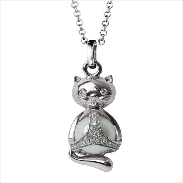Icona Charm Cat Necklace in sterling silver plated with rhodium with pearl and diamonds