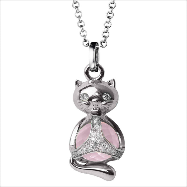 Icona Charm Cat Necklace in sterling silver plated with rhodium with rose quartz and diamonds