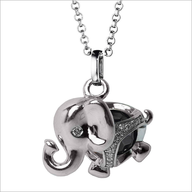Icona Charm Elephant Necklace in sterling silver plated with rhodium with black onyx and diamonds