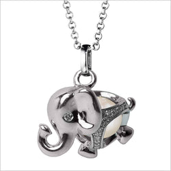 Icona Charm Elephant Necklace in sterling silver plated with rhodium with pearl and diamonds