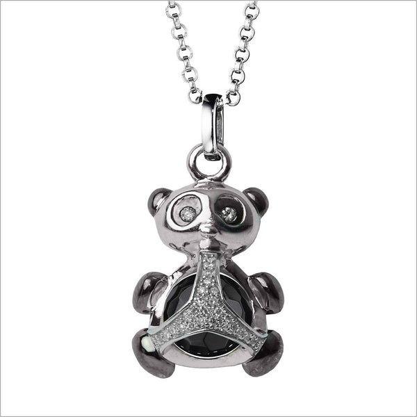 Icona Charm Panda Necklace in sterling silver plated with rhodium with black onyx and diamonds