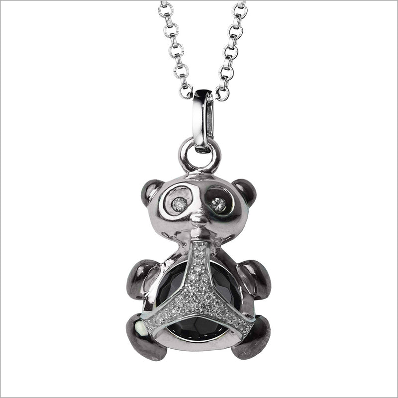 Icona Panda Charm Necklace in Sterling Silver with Onyx & Diamonds