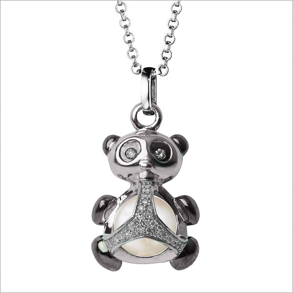Icona Charm Panda Necklace in sterling silver plated with rhodium with pearl and diamonds