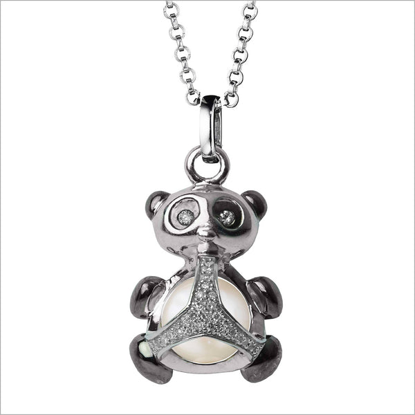 Icona Panda Charm Necklace in Sterling Silver with Pearl & Diamonds
