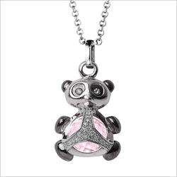 Icona Charm Panda Necklace in sterling silver plated with rhodium with rose quartz and diamonds