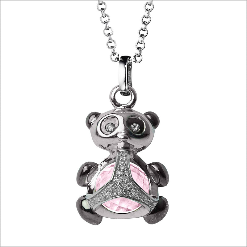 Icona Panda Charm Necklace in Sterling Silver with Rose Quartz & Diamonds