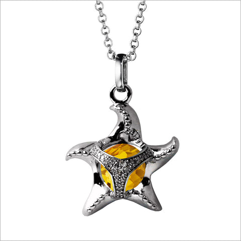 Icona Charm Starfish Necklace in sterling silver plated with rhodium with citrine and diamonds