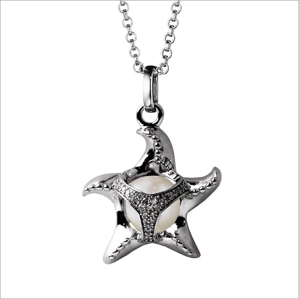 Icona Charm Starfish Necklace in sterling silver plated with rhodium with pearl and diamonds