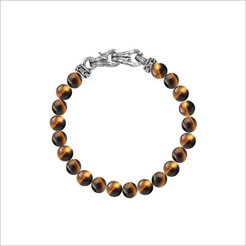 Men's Centauro Tiger's Eye Bead Bracelet in Sterling Silver