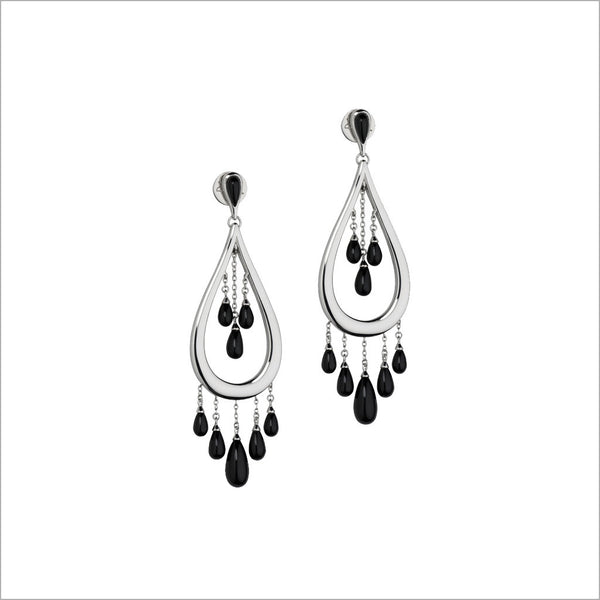 Sterling Silver & Black Onyx Dangle Earrings