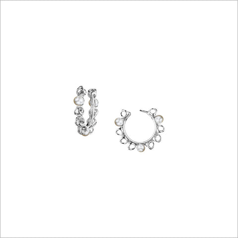 Icona Pearl Sterling Silver Small Hoop Earrings