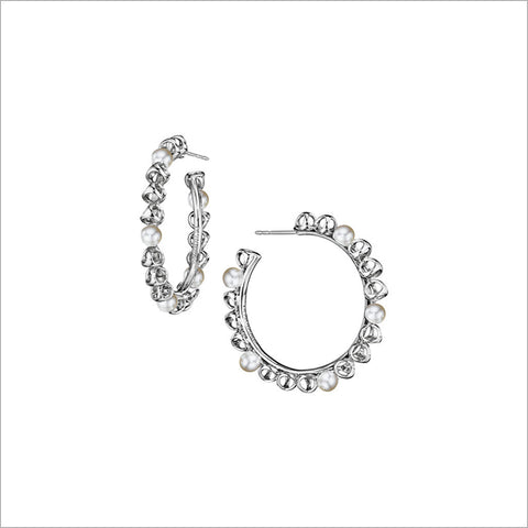 Icona Sterling Silver & Pearl Medium Hoop Earrings