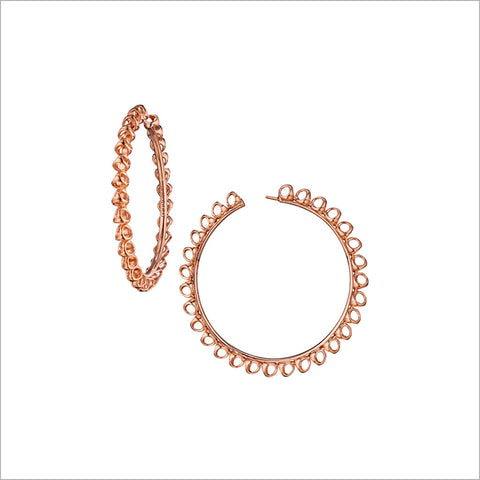 Icona Large Hoop Earrings in Sterling Silver plated with 18k Rose Gold