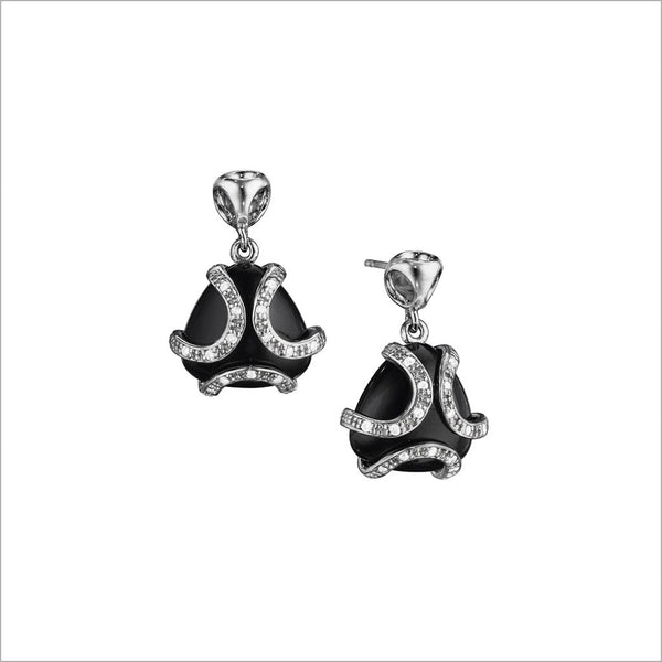 Spirit Black Onyx & Diamond Earrings in Sterling Silver