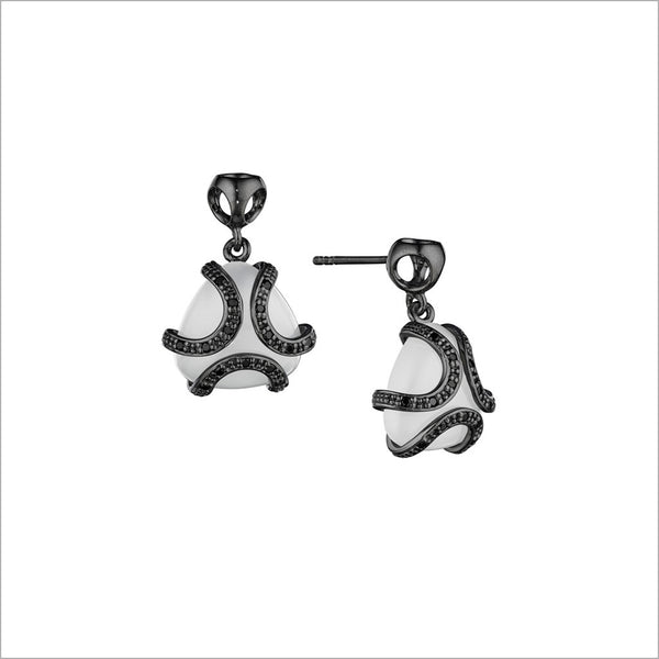 Spirit White Onyx & Diamond Earrings in Sterling Silver plated with Black Rhodium