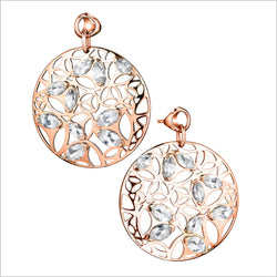 Medallion Rock Crystal Large Earrings in Sterling Silver plated with Rose Gold