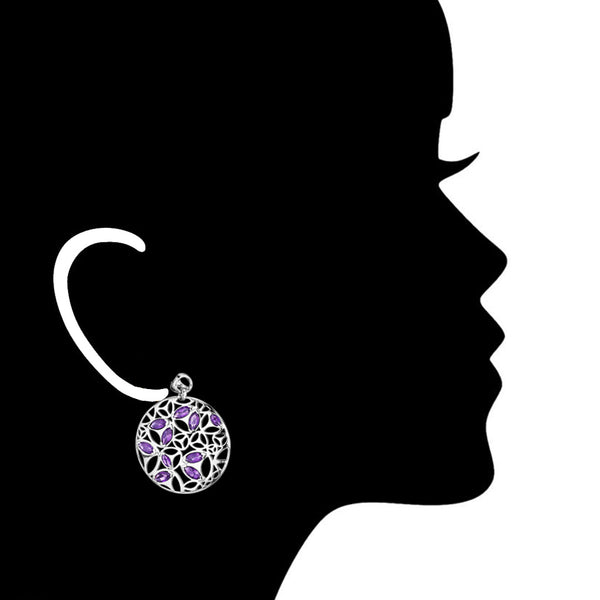 Medallion Amethyst Large Earrings in Sterling Silver