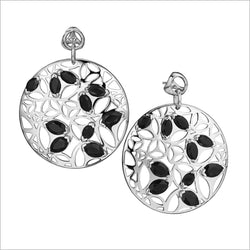 Medallion Black Onyx Large Earrings in Sterling Silver