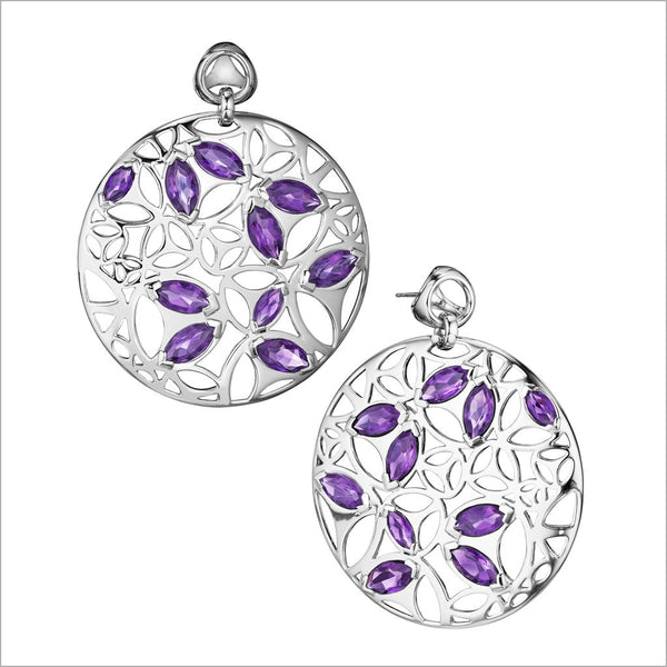 Medallion Purple Quartz Large Earrings in Sterling Silver