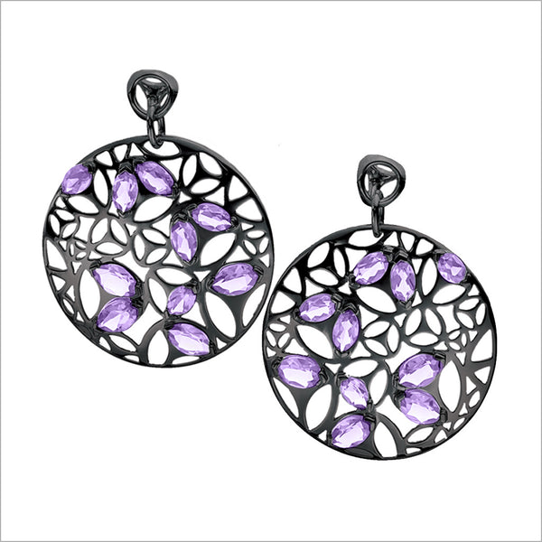 Medallion Amethyst Large Earrings in Sterling Silver plated with Black Rhodium