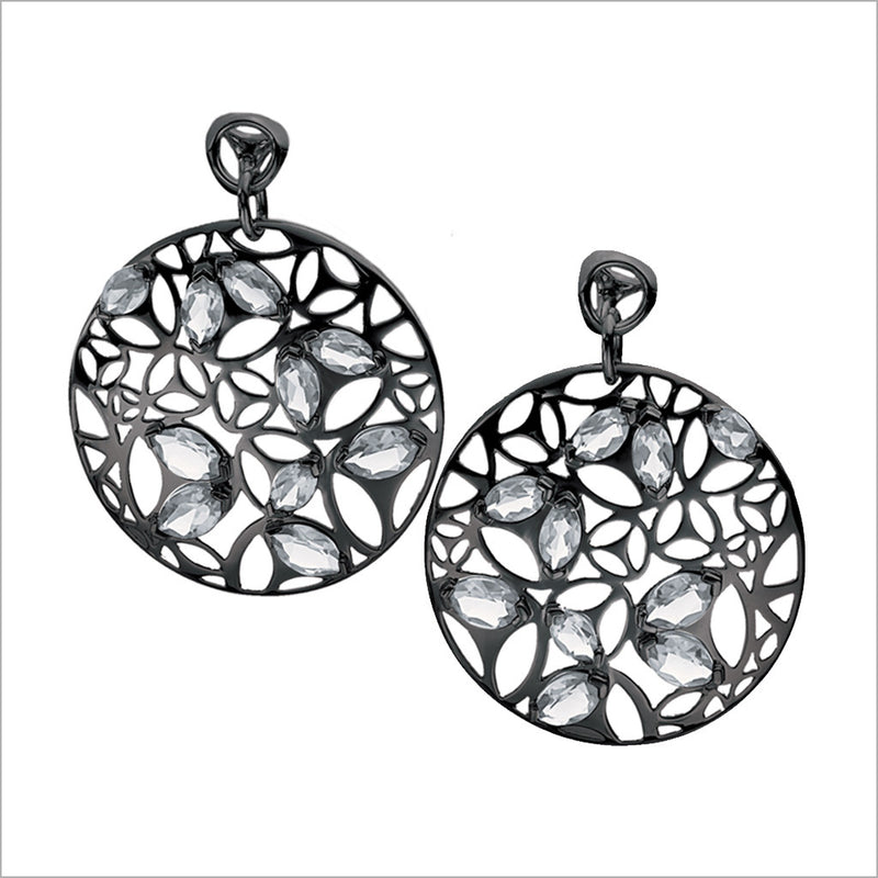 Medallion Rock Crystal Large Earrings in Sterling Silver plated with Black Rhodium