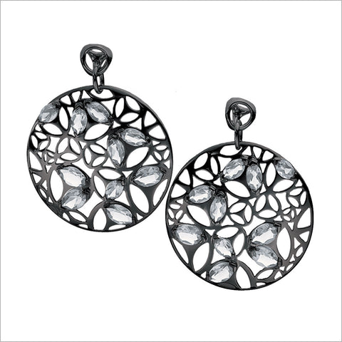 Medallion Black Rhodium & Rock Crystal Large Earrings in Sterling Silver