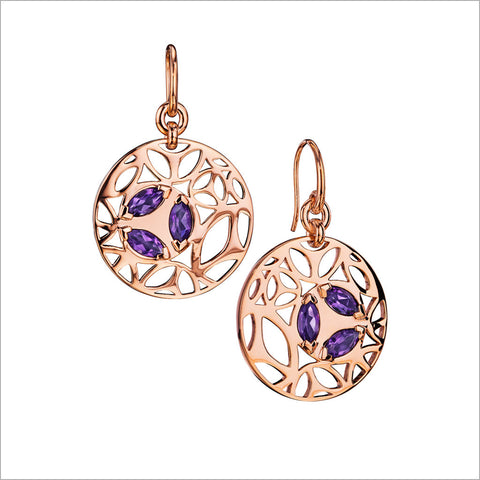 Medallion Rose & Amethyst Small Earrings in Sterling Silver