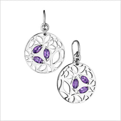 Medallion Amethyst Small Earrings in Sterling Silver