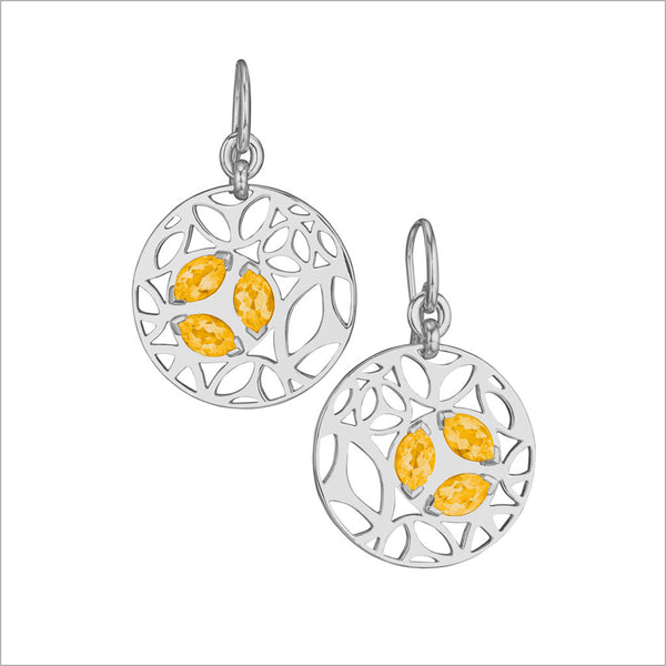Medallion Golden Quartz Small Earrings in Sterling Silver