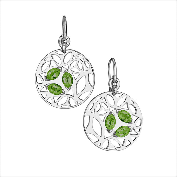 Medallion Green Quartz Small Earrings in Sterling Silver