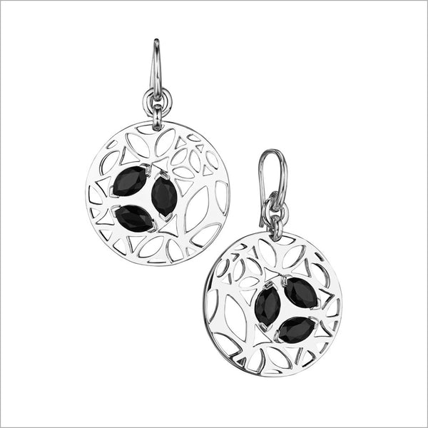 Medallion Black Onyx Small Earrings in Sterling Silver