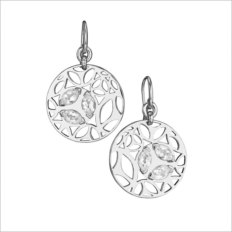 Medallion Rock Crystal Small Earrings in Sterling Silver
