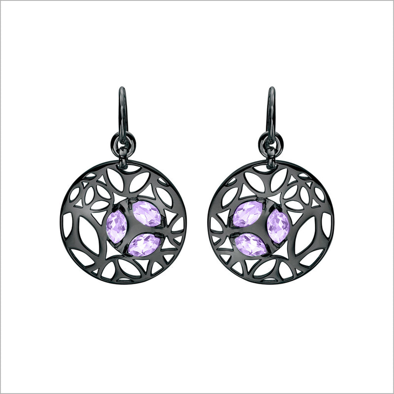 Medallion Amethyst Small Earrings in Sterling Silver plated with Black Rhodium