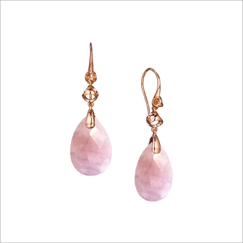 Icona Pink Quartz Drop Earrings in Sterling Silver plated with 18k Rose Gold