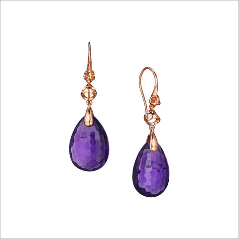 Icona Purple Quartz Drop Earrings in Sterling Silver Plated with Rose Gold