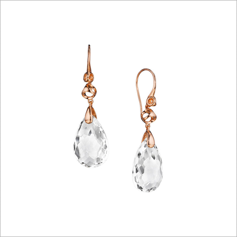 Icona Rock Crystal Drop Earrings in Sterling Silver Plated with Rose Gold