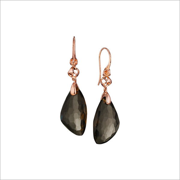 Icona Smoky Quartz Drop Earrings in Sterling Silver Plated with Rose Gold