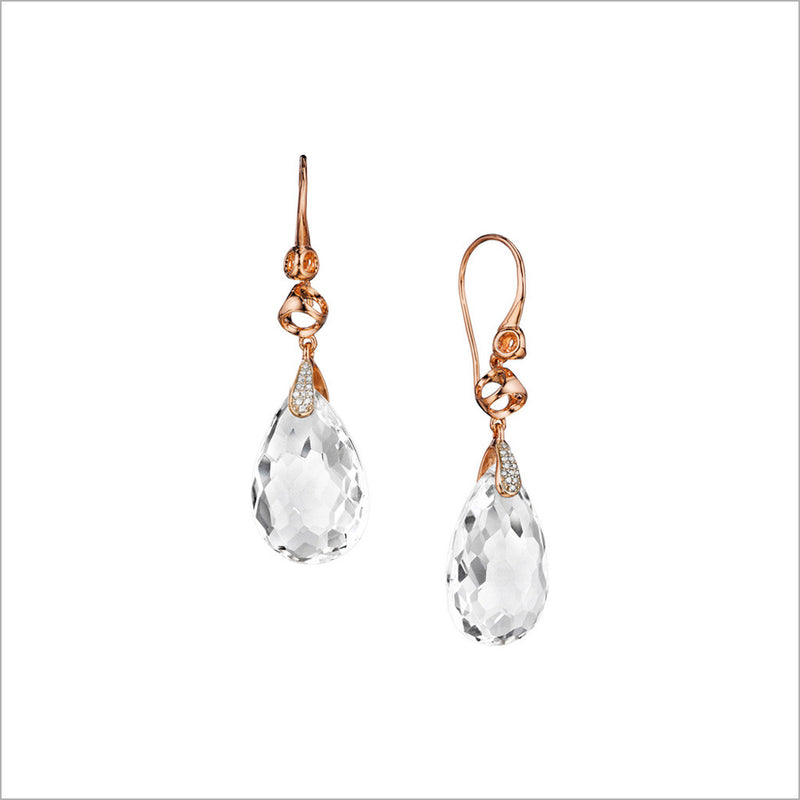 Icona Rock Crystal & Diamond Drop Earrings in Sterling Silver Plated with 18k Rose Gold