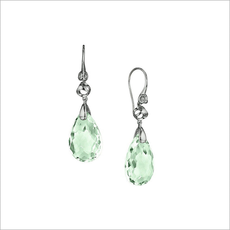 Icona Green Amethyst Drop Earrings in Sterling Silver