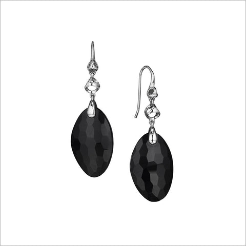Icona Black Onyx Drop Earrings in Sterling Silver plated with Rhodium