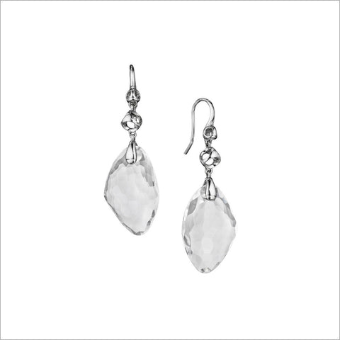 Icona Rock Crystal Drop Earrings in Sterling Silver